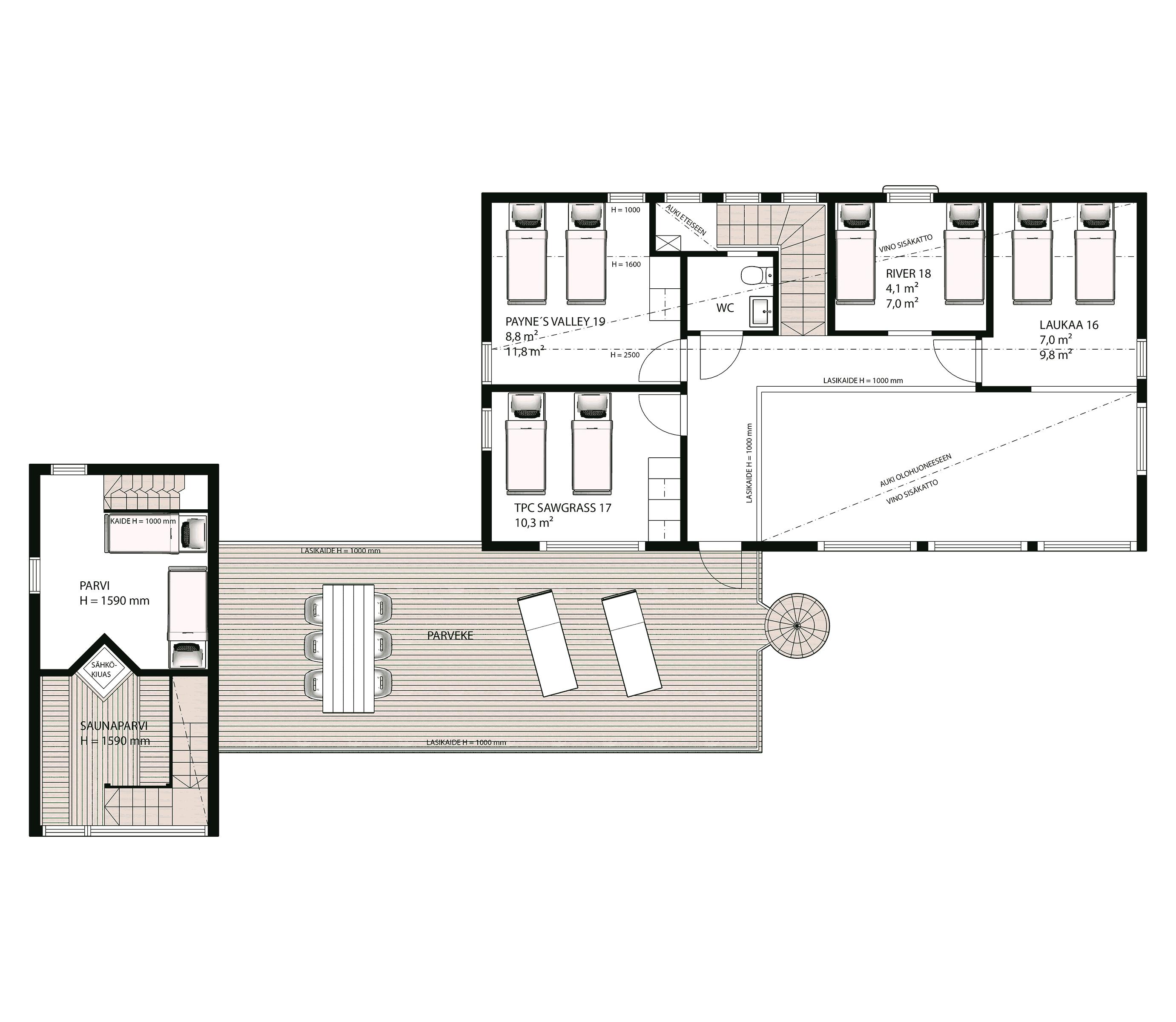 Villagriini pohjakuva: yläkerta